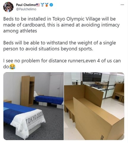 American distance runner Paul Chelimo joked that athletes' beds at the Tokyo Olympics were made of cardboard to stop people having sex in them once the competition is over