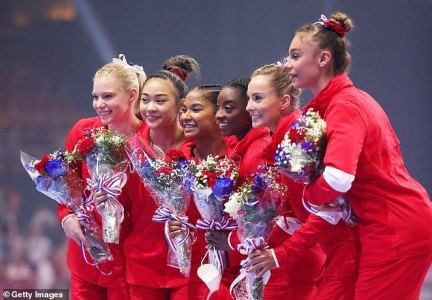 Simone Biles and the five other athletes who are expected to compete (pictured) are not understood to have been in close contact with Kara, whose identity was shared by her coach