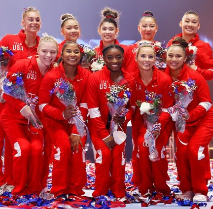 Japanese officials announced on Monday that a member of the US women's gymnastics team (pictured) had tested positive but did not initially reveal her identity