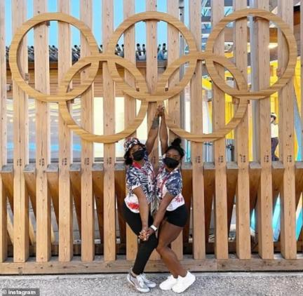Simone and her teammate Jordan were seen posing in front of the Olympic rings on Monday, as the news about the positive test result was revealed