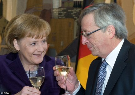 Juncker is often pictured with a glass in his hand. He raises a toast to Angela Merkel in 2010
