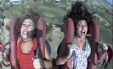 Scream and shout: Two girls scream as they face a downward spiral of fear