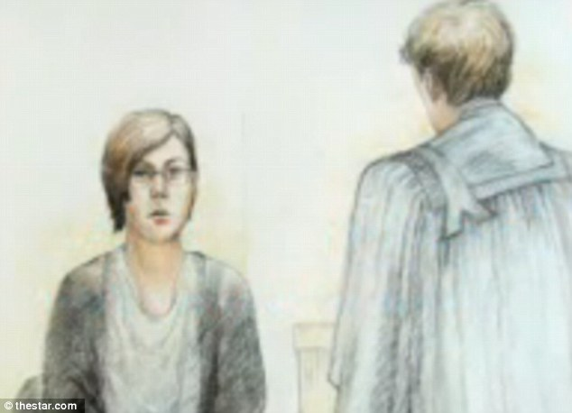Court sketch: Terri-Lynne McClintic took to the stand for the second time today as she recounted the horrific details of Victoria Stafford's murder at the hands of her and Michael Rafferty