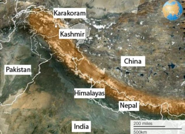 The Karakoram range is west of the Himalayas