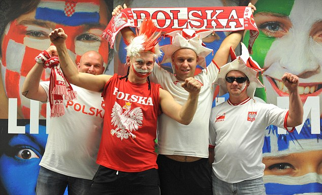 Ready to go: Poland fans arrived early for their opening game with Greece