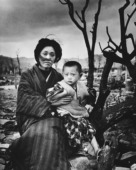 A mother and child among the ruins of Hiroshima