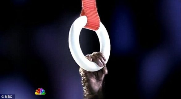 Commercial: The network then aired what many have seen as an insensitive ad of a monkey performing on gymnastic rings