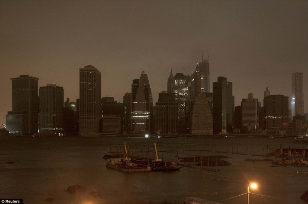 Blackout: The skyline of lower Manhattan sits in darkness after a preventive power outage in New York on Monday night