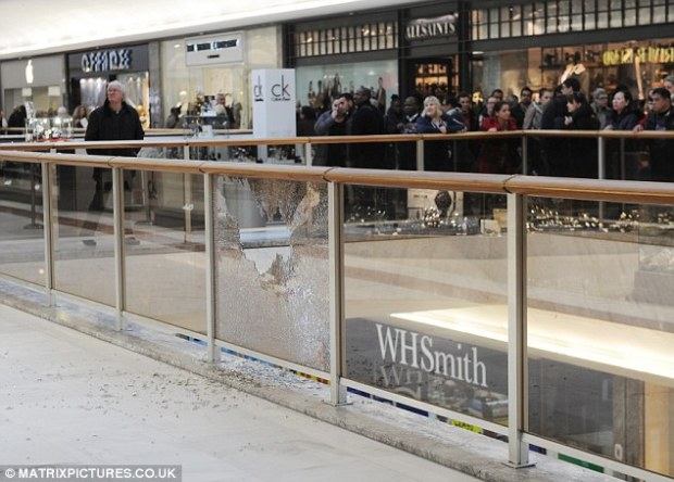 Damage: As well as taking jewellery, the gang also left a trail of destruction in the shopping centre