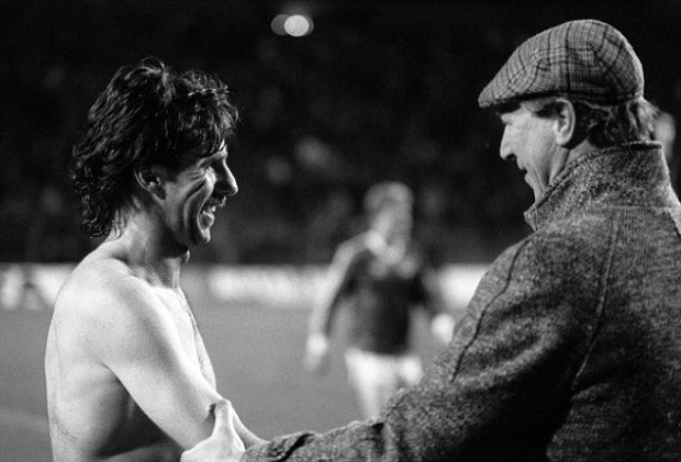 Come and play for us: Mark Lawrenson with Ireland manager Jack Charlton