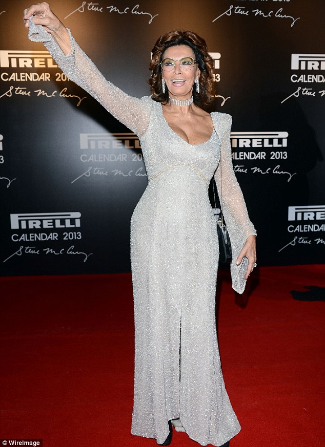 Glittering: Sophia Loren stole the red carpet show on Tuesday in Rio de Janeiro, Brazil at the 2013 Pirelli launch event