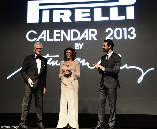 Launch pad: Sophia took the microphone alongside Pirelli & C President Marco Tronchetti Provera, and actor Rodrigo Santoro to launch the new calendar
