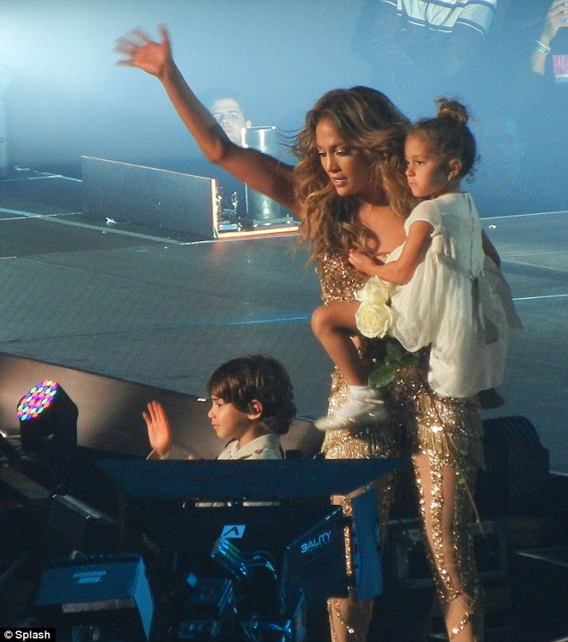 Farewell: Jennifer brought her adorable tots on stage at the end of her final Dance Again show in San Juan, Puerto Rico on Sunday