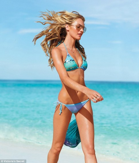 Aquamarine: Candice dons a revealing triangle top bikini with hints of the blue-green sea