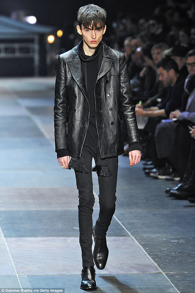 Gaunt: The extremely thin male model seen on the catwalk during the Yves Saint Laurent show in Paris