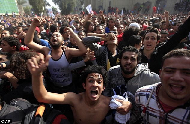 Unrest: Eight people have died n riots following the decision, as Egyptian security officials said the military had been deployed to Port Said to deal with unrest