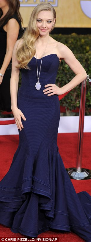 Twice as nice: Amanda wore a Zac Posen gown on the red carpet before switching into her lacy black frock