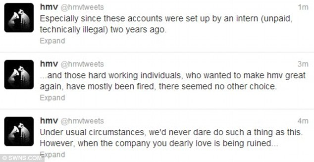Final stand: The rebellious tweets went on to say the firm was being 'ruined' so they had no other choice