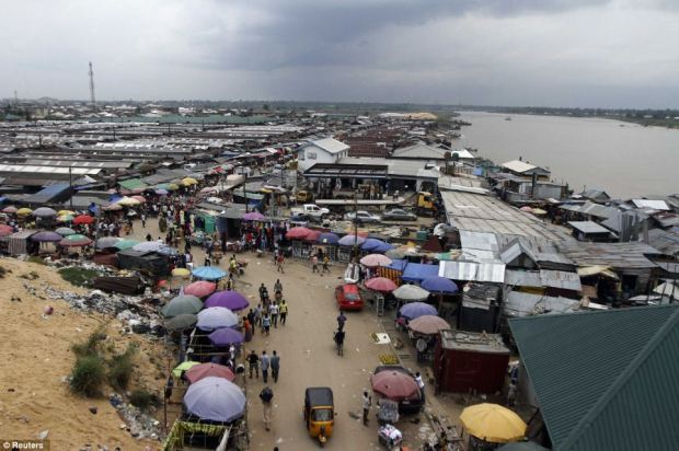 A view of the Swali market alongside the river Nun, in Yenagoa