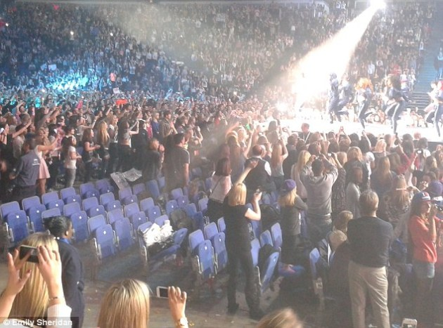 Empty seats: As Bieber came onstage expensive front row seats were empty - as younger fans were forced to leave