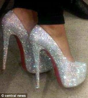 A pair of expensive Christian Louboutin shoes bought with cash stolen from a string of bank accounts