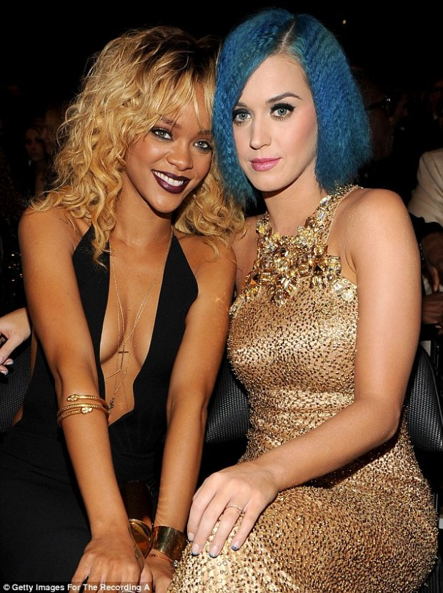 Friends again? Rihanna and Katy Perry, pictured here in February 2012, engaged in some Twitter banter over Rihanna's recent trip to Miami strip club venue, King Of Diamonds Gentlemen's Club, on Wednesday