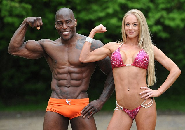 His'n'hers muscles: The couple get a buzz from the exercise they do at Nirvana Fitness Gym, and although they are competitive they find they are more supportive of each other