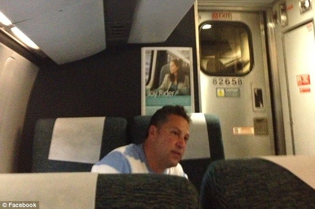 Bragger: This picture of a man on a Philadelphia train boasting of affairs was posted on Facebook