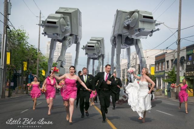 And now for the sequel! The pair couldn't resist their bridal party getting chased by a squad of Imperial AT-AT Walker