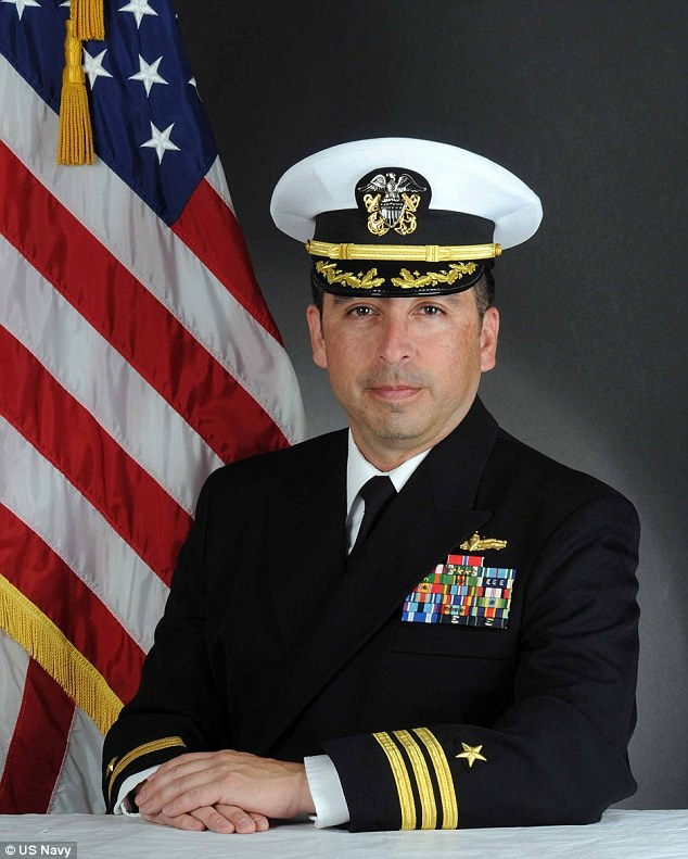 Fired: Commander Allen Maestas, pictured, was fired on May 16 following an investigation that found he'd been sending inappropriate text messages to female sailors
