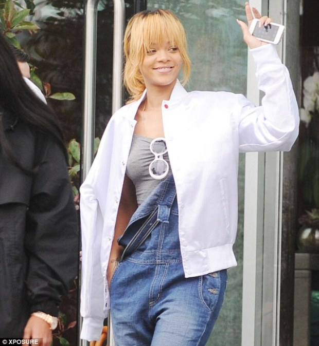 Ready to go: Rihanna stepped out in Manchester, England on Wednesday before her concert
