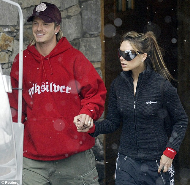 2004: The couple stay fashion forward even while on a skiing holiday in Courchevel in the French Alps