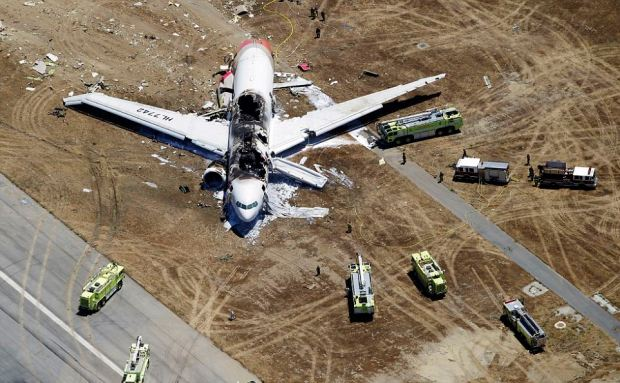 This aerial photo shows the wreckage of the Asiana Flight 214 airplane after it crashed at the San Francisco International Airport