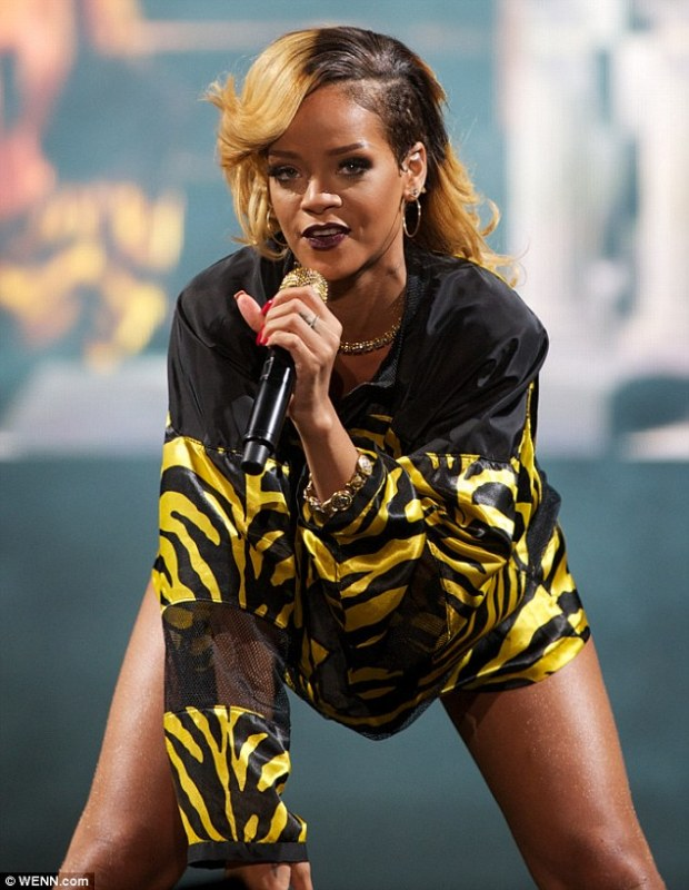 Boundless energy: Keeping the crowd entertained, Rihanna pulled a number of provocative poses during the set