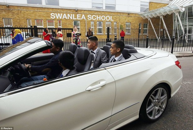 'Showing off': These students drive past the school and into the playground in their hired Mercedes-Benz