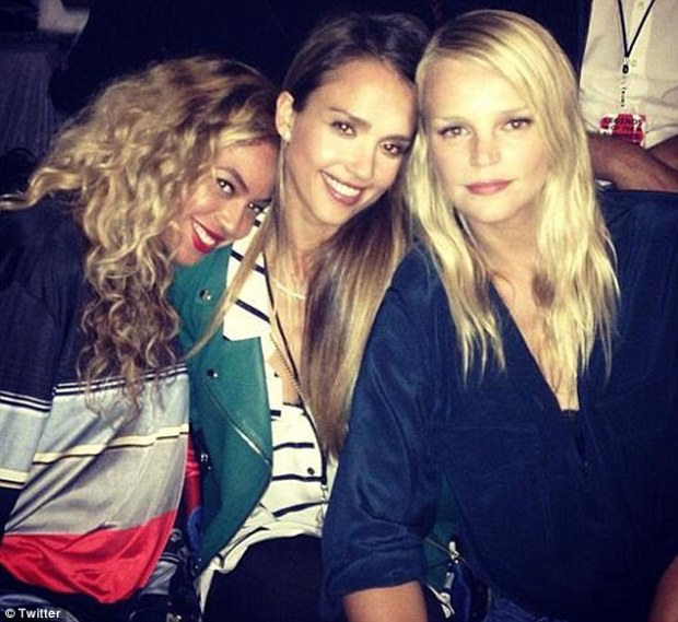 Backstage pass: Beyonce, Jessica Alba and Kelly Sawyer at Jay Z and Justin Timberlake's concert on Sunday in Pasadena, California