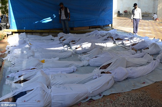 The activists said at least 213 people, including women and children, were killedy in a nerve gas attack by President Bashar al-Assad's forces