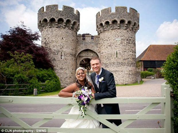 Celebration: Jagan Babwah had just watched his daughter Camela, left, marry John Taylor, right, at 14th century Cooling Castle, near Rochester, Kent, pictured in the background