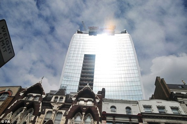 Looking up: A general view of the Walkie Talkie building, taken from Eastcheap in the City of London