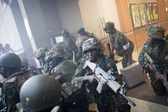 Army: Soldiers were drafted in to help police tackle the gunmen, who are now known to be terrorists from the Somali al-Shabaab organisation, which has links to al-Qaeda