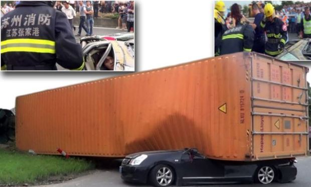 Woman driver's miraculous escape from a car