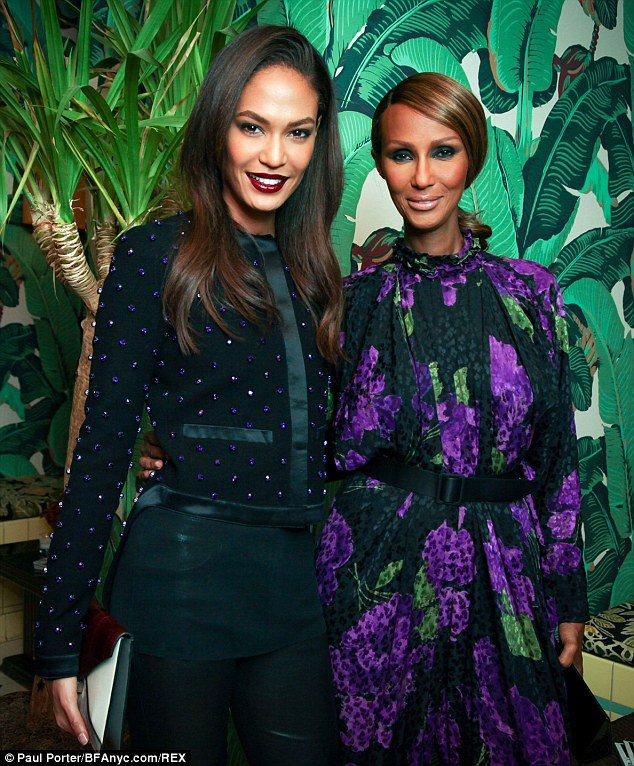 Spanning generations: The Somali supermodel - born Iman Abdulmajid - was at the soiree to support Victoria's Secret Angel Joan