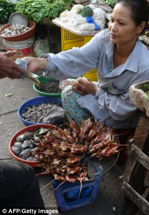 Rats, tasty rats, only 100,000 dong: A Vietnamese vendor selling slaughtered rats at a village market
