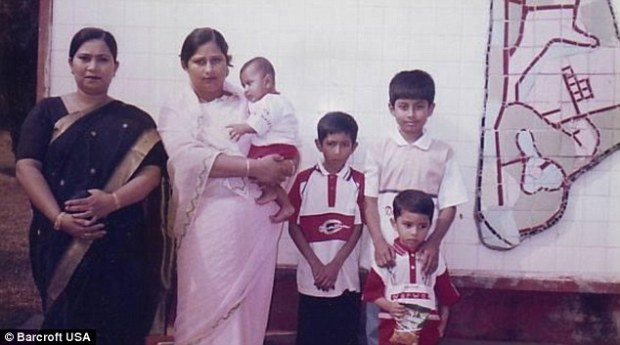 A collect photo of transgender model Amelia Maltpe aged 11 with (l-r) aunt Akter, mother holding Amelia's brother Ratul, brother Razzak, and cousin Haque in 2001 in Dhaka, Bangladesh