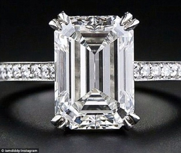 This is not an engagement ring: Diddy denies to MailOnline he popped the question to girlfriend Cassie when he posted a photo of this rock to his Instagram account Saturday