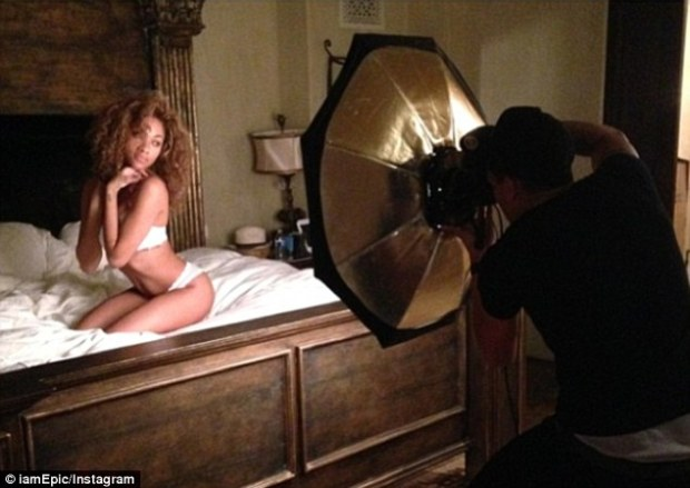 Ready for Maxim: Curly-haired Bria flaunted her pert derrière in white cheeky pants and a matching bra
