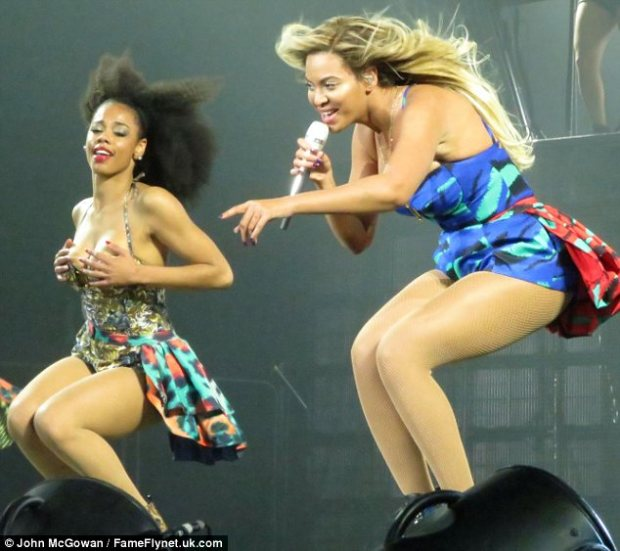 Dressed to impress: Beyonce's dancers wore similarly skimpy outfits to the diva as they took to the stage in Glasgow