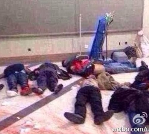Horror: Photos shared on the Chinese micro-blogging site Weibo showed bodies strewn across the floor