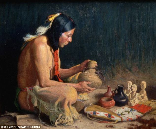 Scientists from Georgetown University used a technique called linguistic phylogeny to discover a link between the Na-Dene family of languages of North American tribes and the Yeniseian languages of Central Siberia. Stock illustration of an Apache Indian is pictured