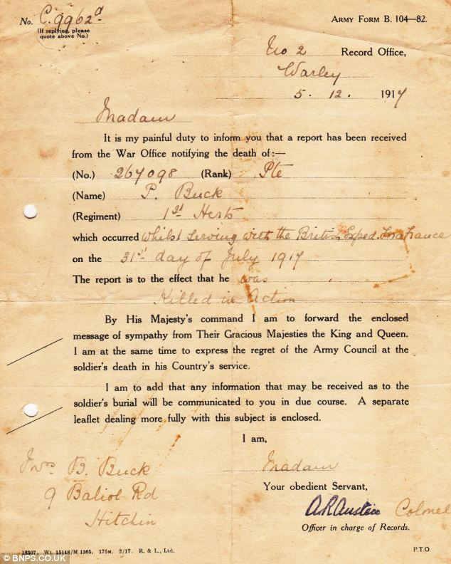 The letter that officially informed Bertha Buck of her husband's death. His body has never been found
